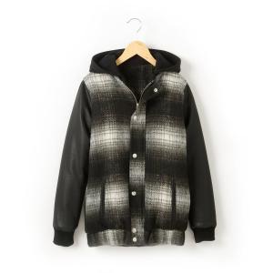 Пальто с капюшоном R teens. Цвет: в клетку черный