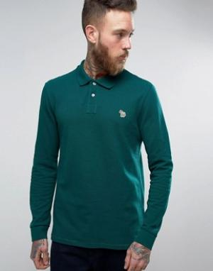 PS by Paul Smith Поло цвета хаки с длинными рукавами и логотипом. Цвет: зеленый