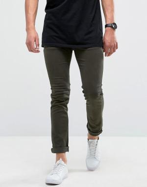 Loyalty & Faith Зауженные джинсы хаки с легкой потертой отделкой and. Цвет: зеленый