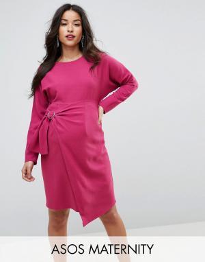 ASOS Maternity Платье мини с запахом на юбке. Цвет: фиолетовый