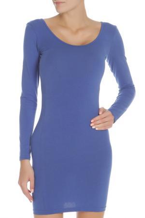 Платье с глубоким вырезом на спине American Apparel. Цвет: синий