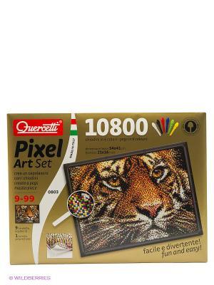 Пиксельная мозаика  серии Арт Тигр Quercetti. Цвет: красный, желтый, белый, черный