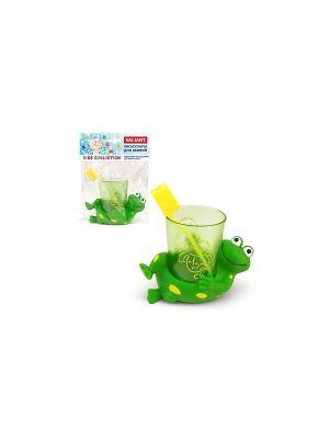 Подставка со стаканом для зубных щеток ЛЯГУШАТА VALIANT. Цвет: зеленый