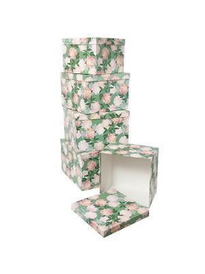Набор из 5 картонных кубов 22х22х16 - 30х30х20см, Ароматные пионы VELD-CO. Цвет: светло-зеленый, розовый