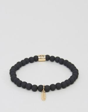 Chained & Able Золотистый узкий браслет с пером. Цвет: золотой