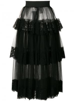 Многоярусная юбка из тюля с кружевной отделкой Dolce & Gabbana. Цвет: чёрный