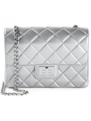 Маленькая стёганая сумка на плечо Designinverso. Цвет: серый