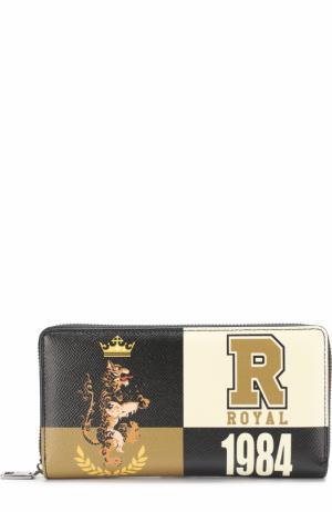 Кожаное портмоне на молнии с отделениями для кредитных карт и монет Dolce & Gabbana. Цвет: бежевый