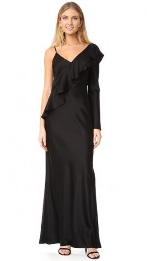Платье до пола с асимметричными оборками на рукаве Diane von Furstenberg. Цвет: голубой