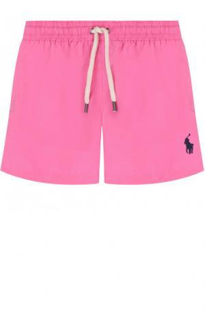 Плавки-шорты с логотипом бренда Polo Ralph Lauren. Цвет: розовый