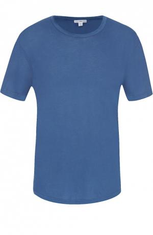 Хлопковая футболка с круглым вырезом James Perse. Цвет: синий