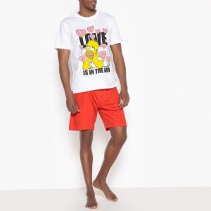 Пижама с шортами из хлопка рисунком Симпсоны SIMPSONS. Цвет: белый + красный