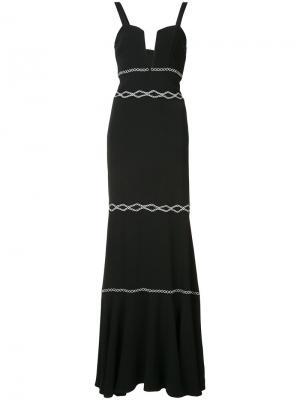 Платье с вышитым декором Nicole Miller. Цвет: чёрный