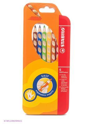 Набор цветных карандашей, для левшей Stabilo. Цвет: оранжевый