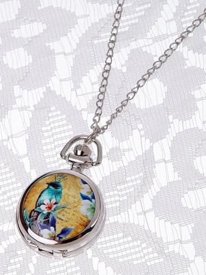 Кулон-часы Райская бирюзовая птица Mitya Veselkov. Цвет: серебристый