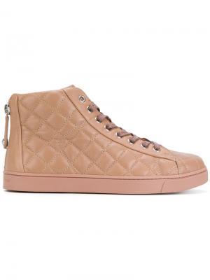 Стеганые хайтопы на шнуровке Gianvito Rossi. Цвет: розовый и фиолетовый