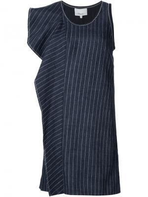 Платье в полоску с оборками 3.1 Phillip Lim. Цвет: синий