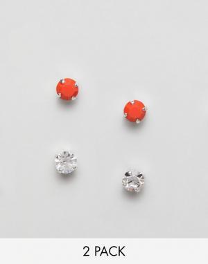 Krystal London 2 пары серег-гвоздиков с кристаллами Swarovski. Цвет: красный