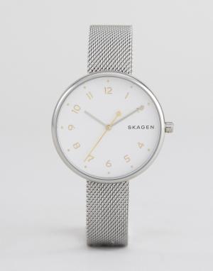 Skagen Серебристые часы с сетчатым браслетом. Цвет: золотой