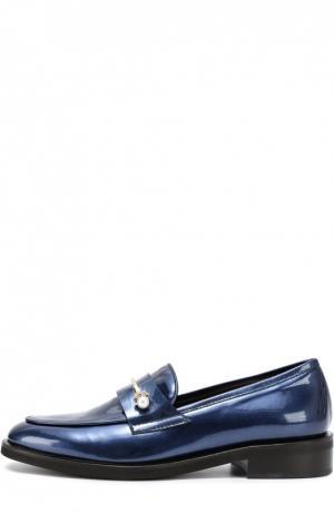 Кожаные лоферы с декором Coliac. Цвет: синий