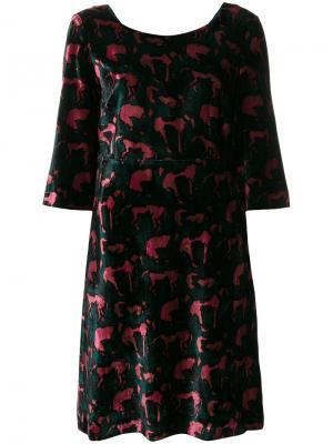 Платье шифт с узором  LAutre Chose L'Autre. Цвет: зелёный