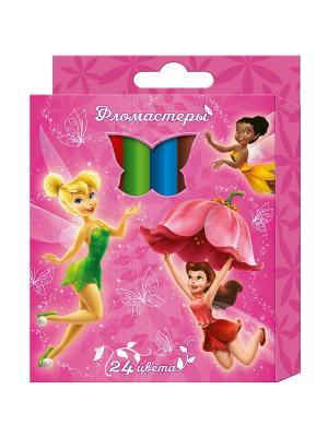 Фломастеры Феи 24 цвета Disney. Цвет: розовый, зеленый, красный