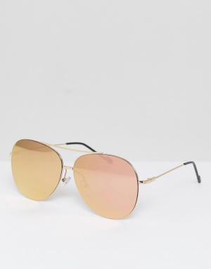 Jeepers Peepers Солнцезащитные очки-авиаторы с розовыми стеклами. Цвет: золотой