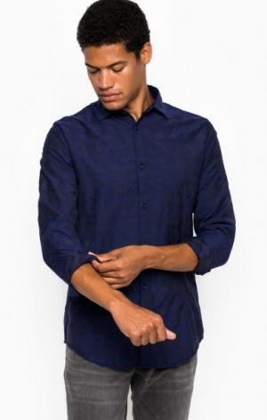 Приталенная рубашка из хлопка ARMANI JEANS. Цвет: синий