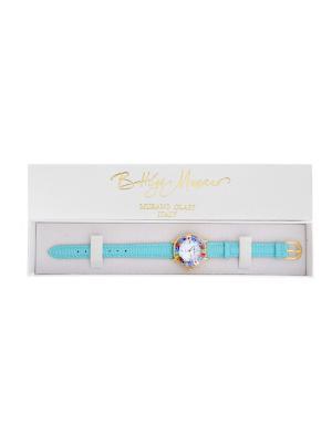 Часы круглые Bottega Murano, золото, ремешок голубой, стекло мультиколор, 09080701 B6 Murano. Цвет: голубой, золотистый