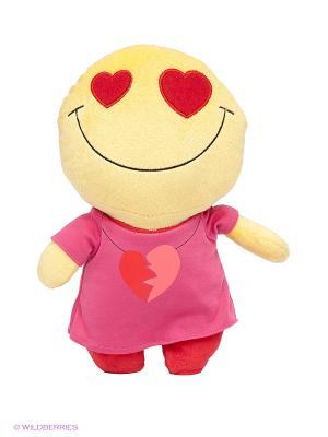 Мягкая игрушка Смайл, любовь MAXITOYS. Цвет: фуксия, желтый