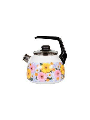 Чайник 3,0 л, со свистком, СтальЭмаль. Цвет: желтый, розовый