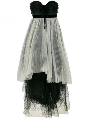Длинное платье из тюля с асимметричным подолом Philosophy Di Lorenzo Serafini. Цвет: чёрный