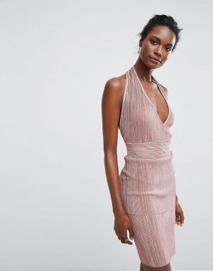 Wal G Платье халтер. Цвет: розовый