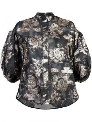 Жаккардовая блузка с буффами на рукавах Dice Kayek. Цвет: чёрный