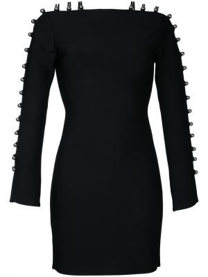 Платье мини с лямками на рукавах David Koma. Цвет: чёрный