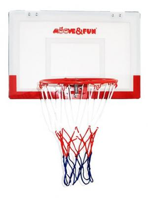 Баскетбольный щит мини с мячом и насосом Moove&Fun. Цвет: прозрачный