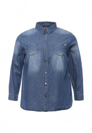 Рубашка джинсовая Ulla Popken. Цвет: синий