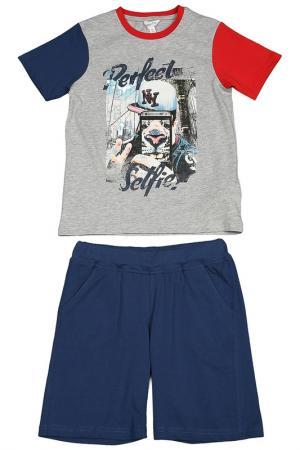 Комплект: майка, шорты Dodipetto. Цвет: серый, синий