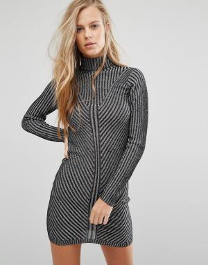 Miss Selfridge Платье мини в рубчик с длинными рукавами. Цвет: черный