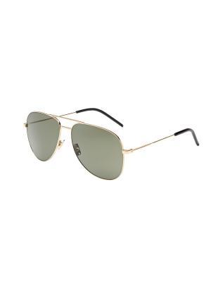 Солнцезащитные очки Saint Laurent. Цвет: зеленый, золотистый