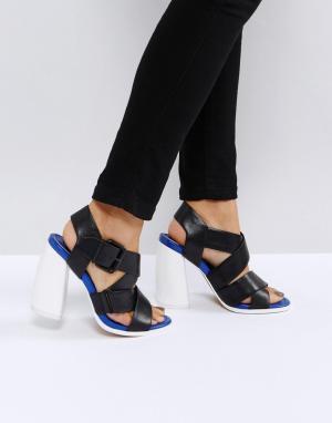 ASOS White Кожаные премиум-босоножки на каблуке TULIPA. Цвет: черный