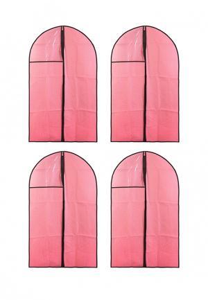 Комплект чехлов для одежды 4 шт. El Casa. Цвет: розовый