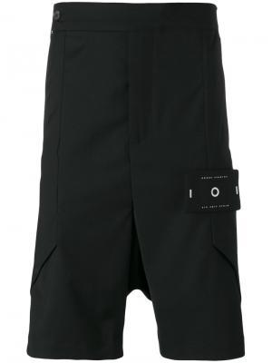Многослойные шорты с заниженной проймой Odeur. Цвет: чёрный