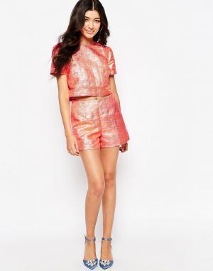 Lashes of London Жаккардовые шорты цвета металлик. Цвет: розовый
