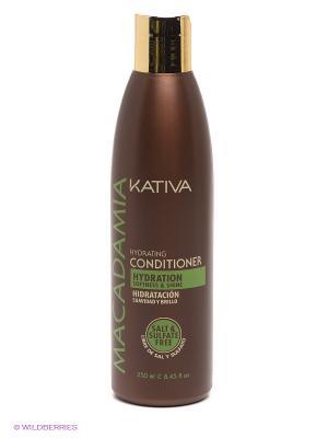 Интенсивно увлажняющий кондиционер Kativa для нормальных и поврежденных волос MACADAMIA, 250мл. Цвет: коричневый, золотистый