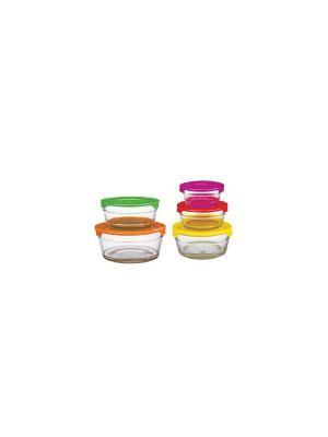 Набор стеклянных контейнеров, стекло/пластик Peterhof. Цвет: фуксия, оранжевый, желтый, зеленый, красный