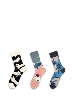 Носки 3 пары Sammy Icon. Цвет: черный, белый, голубой, желтый, розовый, синий