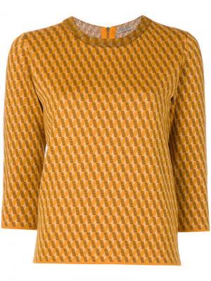 Вязаный джемпер с узором интарсия Outsource Images. Цвет: жёлтый и оранжевый