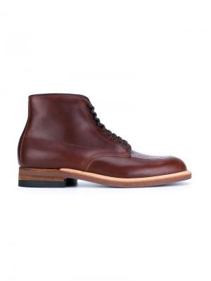 Ботинки Indy с контрастной строчкой Alden. Цвет: коричневый