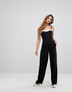 Wal G Комбинезон с широкими штанинами и контрастной отделкой. Цвет: черный